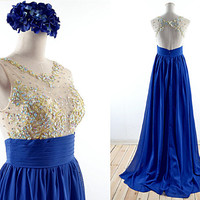 Royal Blue  Prom Dresses, See-through Bodice with Crystal , Lace Long Formal Dresses, Long Chiffon & Lace Prom Gown