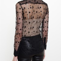 Sheer Star Embroidered Shirt - SAINT LAURENT