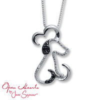 Open Hearts Necklace 1/20 ct tw Diamonds Sterling Silver Dog