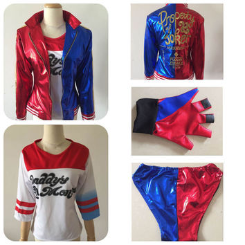 2016 Halloween Costumes for women Suicide Squad Harley Quinn cosplay  harley quinn costumes shirt  jacket shorts  anime costumes