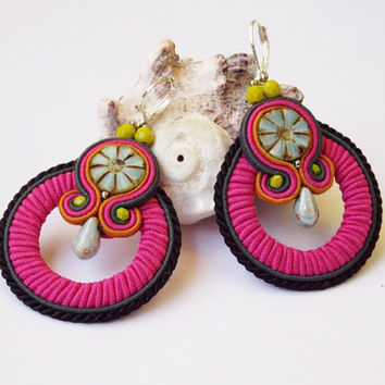 Soutache jewelry earrings.Handmade jewelry Soutache Jewelry with Swarovski Elements.OOAK.