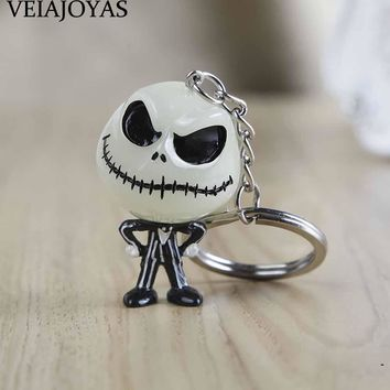 4 styles The Nightmare Before 3D Christmas Jack Skellington Keychain Noctilucent Resin Keyring Funny Jack Face Alloy key chains