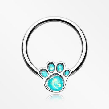 Adorable Paw Print Opalescent Sparkle Captive Bead Ring