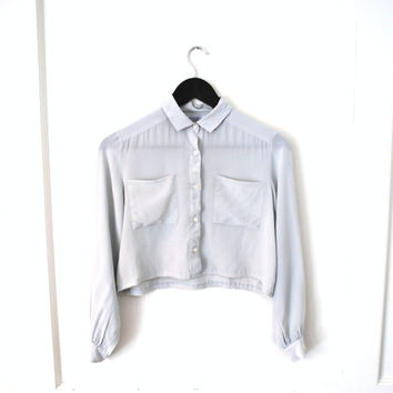 cropped pale grey SILK blouse 80s vintage MINIMAL petal silk crop top