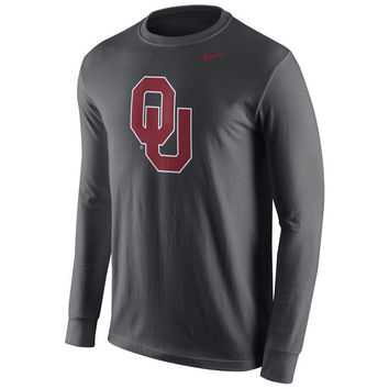 Men's Nike Anthracite Oklahoma Sooners Cotton Logo Long Sleeve T-Shirt