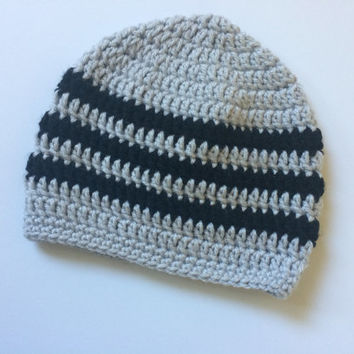 Crochet Beanie Hat - Striped Baby Hat - Black and Gray Infant Hat