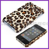 Brown Furry Leopard Back Cover Case for iPhone 4 4G 4th