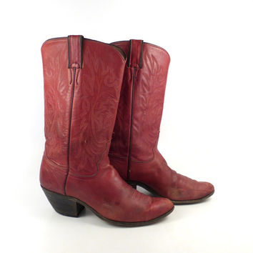 Red Cowboy Boots Vintage 1980s Justin Roper Women's size 9 1/2 B