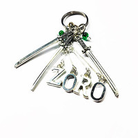 One Piece: ZORO 3D Steel Letters and Katana Keychain or Customisable Necklace