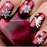 Sparkly Christmas Nail Art Stickers Snowflakes Angels Snowmen Bows Glittery Y099
