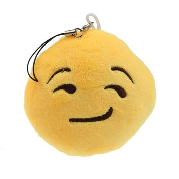 Cute Emoji Smiley Emoticon Smirking Key Chain Soft Toy Gift Pendant Bag Accessory