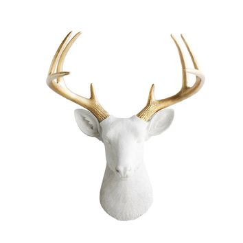 The Virginia | Large Deer Head | Faux Taxidermy | White + Gold Antlers Resin