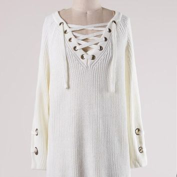 Marcie Lace Up Sweater
