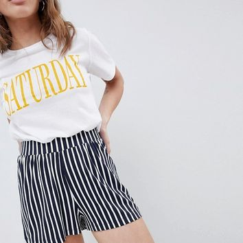 ASOS DESIGN Petite culotte shorts in easy stripe at asos.com