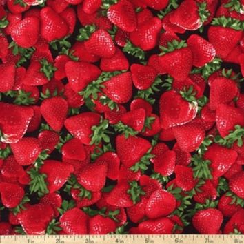 Farm Fresh Fruits and Veggies Strawberries Cotton Fabric - Red