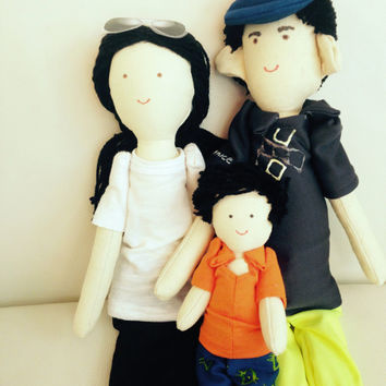 Handmade custom doll, Mother father children, Unique doll, Personalized family dolls, Character dolls, Rag doll, made by photo