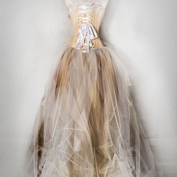 CHAMPAGNE taffetta prom dress, wedding dress with victorian corset, full lenght, with lights!