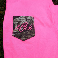 Monogrammed mossy oak and pink camo pocket t-shirt women's. personalized tee.