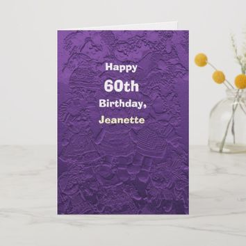 Happy 60th Birthday Greeting Card Purple Dolls