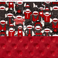 Lovey Sock Monkey Minky Baby Blanket,  Personalized Red Brown