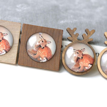 Wooden Pendant Tray Antler/Square Bezel Setting Match 25mm Cabochon Set of 4