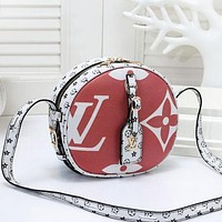 Louis Vuitton LV Women New Fashion Monogram Print Leather Round Crossbody Shoulder Bag Satchel Red