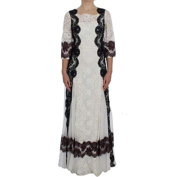Dolce & Gabbana White Floral Lace Full Length Gown Dress