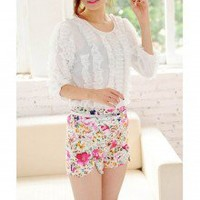 Eye Catching Flower Pattern High Waist High Kick Shorts 2 Colors