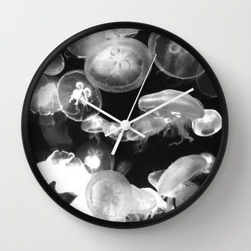 White Moon Jellyfish - Wall Clock, Black Ocean Surf Nautical Clock, Round Circular Hanging Clock. Available in Black / White / Natural Wood