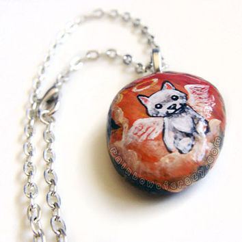 White Terrier Necklace, Pet Memorial Pendant, Hand Painted Stone, Angel Dog Jewelry, Natural Beach Rock, Pet Loss Accessory, Orange Sky