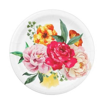 Watercolor Spring Flowers Girly Floral Peonies Paper Plate