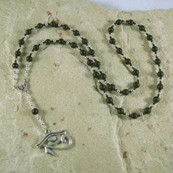 Egyptian Prayer Bead Necklace in Black Onyx with Eye of Horus/Eye of Ra Pendant