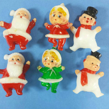 Vintage Miniature Christmas Figurines Santa Claus Snowman Elf Mini Holiday Diorama Dollhouse Decor Plastic Craft Supplies Tiny Pixie Elves