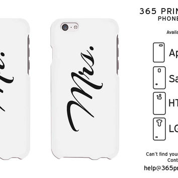 Mr and Mrs Cursive Writing White Phone Case for iPhone, Galaxy S, One M8, G3