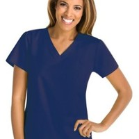Grey's Anatomy Women's Two Pocket V-Neck Scrub Top with Shirring Back, Indigo, Small