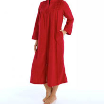 Miss Elaine 861004 Brushed Back Terry Zip Front Long Robe 0fcf72e88
