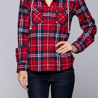 Daisy Plaid Hooded Shirt - Red