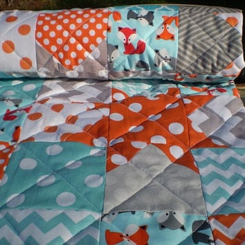 Modern Baby quilt,Teal,grey,orange,aqua,Patchwork crib quilt,woodland,rustic,baby boy bedding,baby girl quilt,foxes,lap,Catch a Falling Star