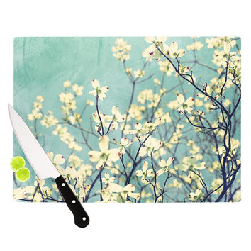 "Ann Barnes ""Pure"" Teal Floral Cutting Board"