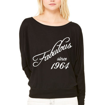 Fabulous since 1964 WOMEN'S FLOWY LONG SLEEVE OFF SHOULDER TEE