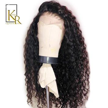150% Curly Wig Brazilian Remy Hair Lace Front Human Hair Wigs For Women With Black Color Baby Hair Full End Pre Plucked 13*4Lace