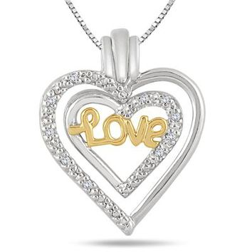 1/10 Carat Diamond Detachable Love Heart Pendant in 18k Gold Plated St