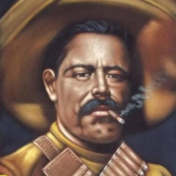 Pancho Villa badass Revolution heroe black velvet oil painting handpainted signed art