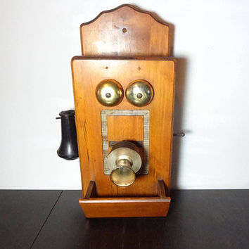 Vintage Wooden Battery Operated AM Radio Shaped Like an Old Fashioned Antique Wall Phone - 1960's - Works