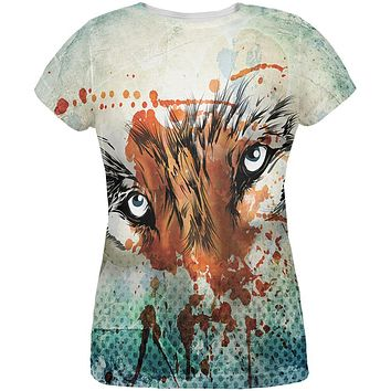Timber Wolf Watercolor All Over Womens T-Shirt