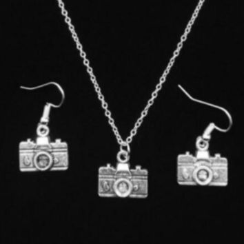 Camera Necklace And Earring Set Photographer Gift PFSET12