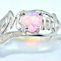 0.50 Ct Pink Opal Heart MOM Diamond Ring Sterling Silver Rhodium Finish White Gold Quality