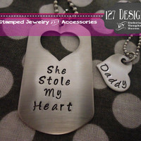 Personalized Dog Tag Necklace His and Hers Father Daughter Set - Hand Stamped Stainless Steel SHIPPED in 10-14 Days SHIPPING TIME 3-5 Days