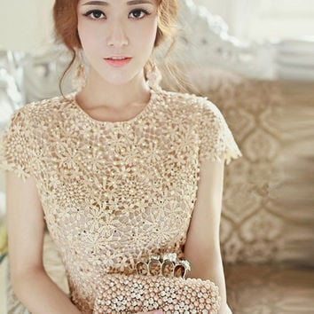 Apricot Floral Pearl Beaded Crochet Short Sleeve Mini Dress