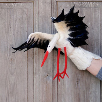 Hand puppet White Stork , felted toy for creative play, children's theater, nursery toy for baby, eco-friendly, Christmas gift for children